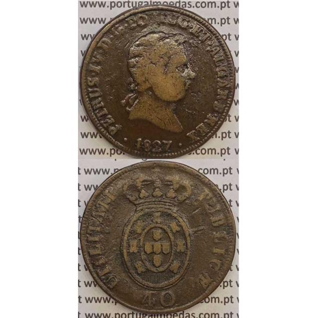 """MOEDA """"PATACO"""" 40 REIS BRONZE 1827 (BC+) DATA ENTRE PONTOS"""