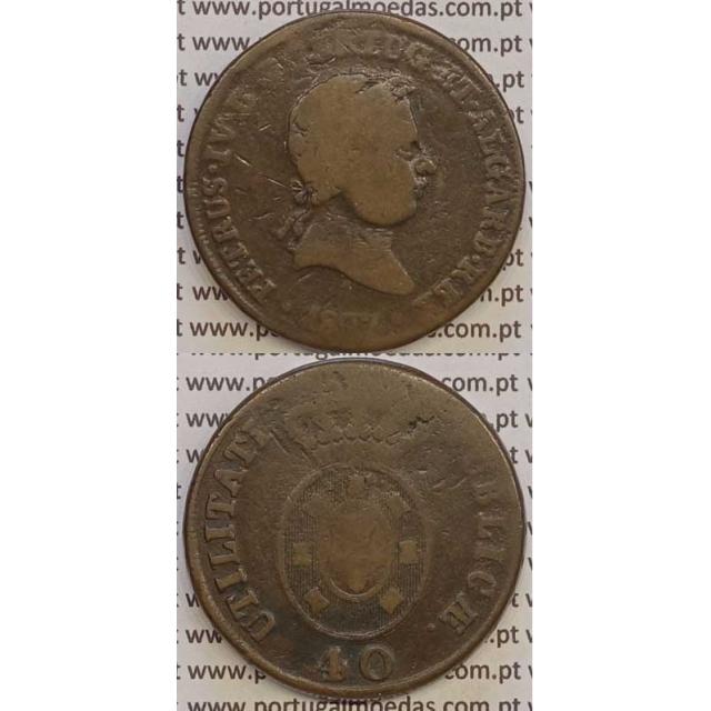 """MOEDA """"PATACO"""" 40 REIS BRONZE 1827 (BC) DATA ENTRE PONTOS"""
