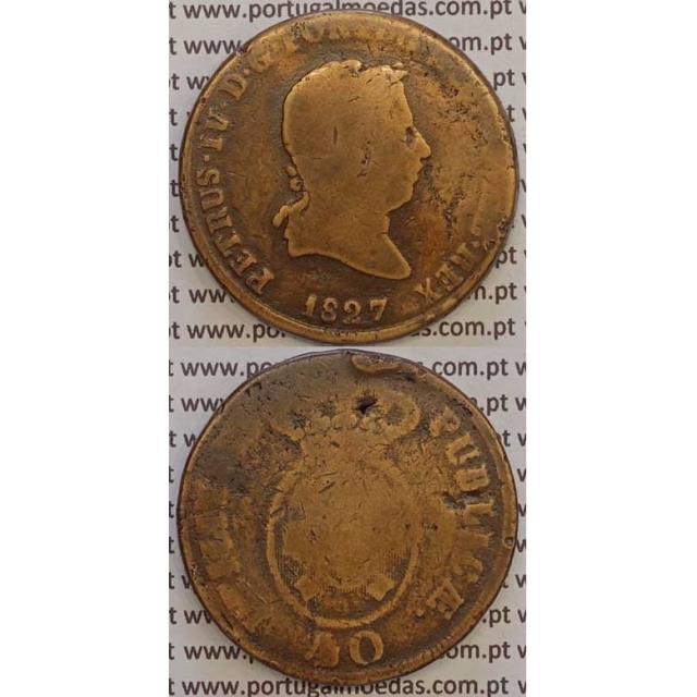 """MOEDA """"PATACO"""" 40 REIS BRONZE 1827 (BC) DATA SEM PONTOS"""