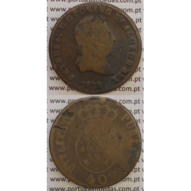 """MOEDA """"PATACO"""" 40 REIS BRONZE 1828 (BC) DATA SEM PONTOS"""