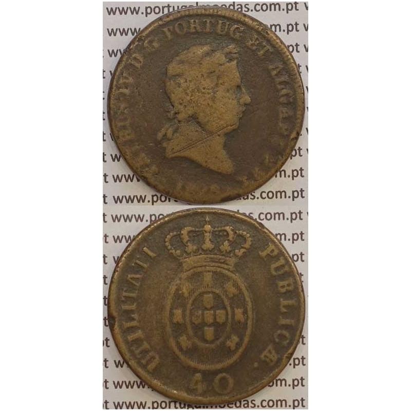 """MOEDA """"PATACO"""" 40 REIS BRONZE 1828 (BC-) DATA SEM PONTOS"""