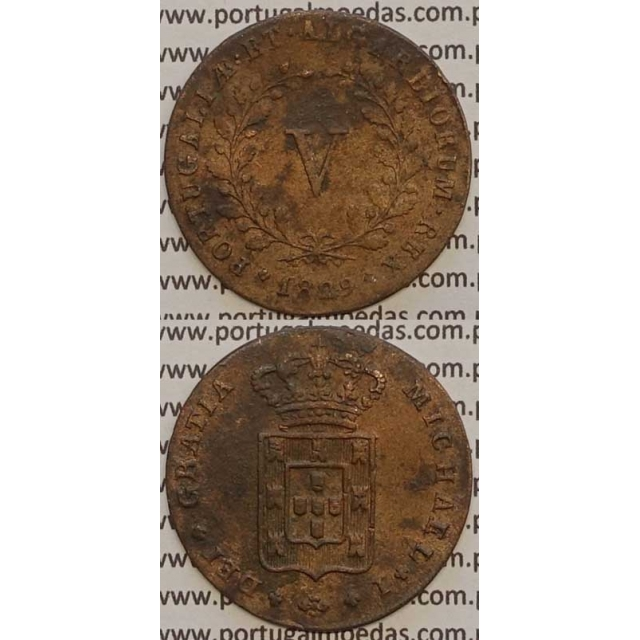 MOEDA V REIS COBRE 1829 (MBC) - D. MIGUEL I