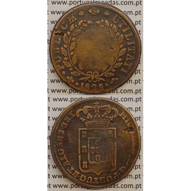 MOEDA PATACO (40 RÉIS) BRONZE 1828 (BC) - ESCUDO ALTO - D.MIGUEL I