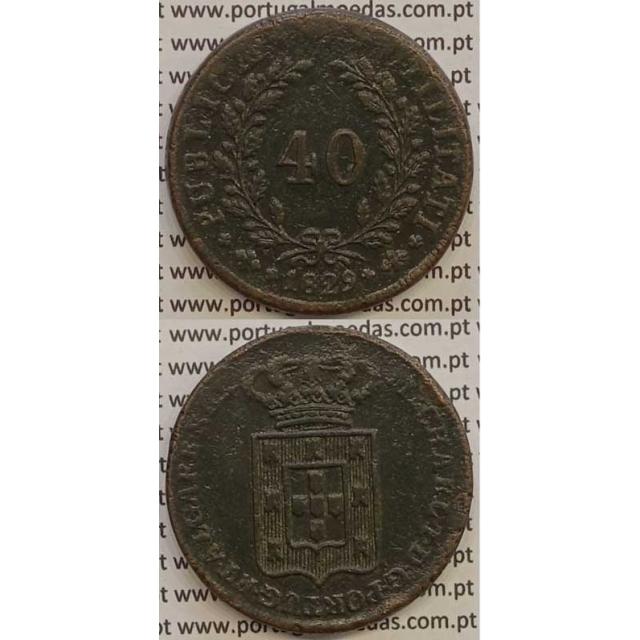 MOEDA PATACO (40 RÉIS) BRONZE 1829 (MBC) - D.MIGUEL I