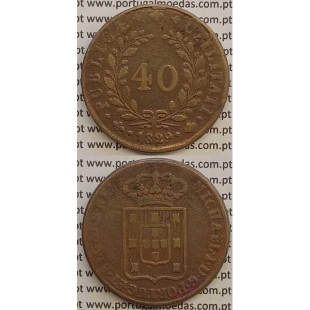 MOEDA PATACO (40 RÉIS) BRONZE 1829 (MBC-) - D.MIGUEL I