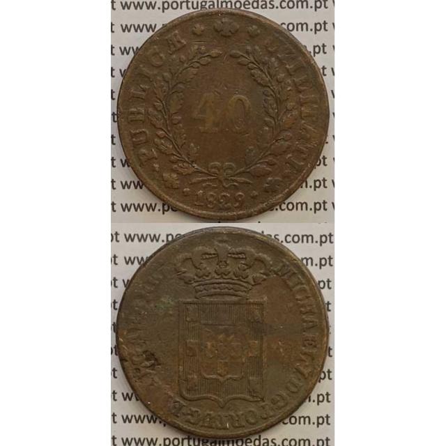 MOEDA PATACO (40 RÉIS) BRONZE 1829 (BC+) - D.MIGUEL I