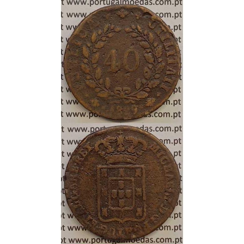 MOEDA PATACO (40 RÉIS) BRONZE 1829 (BC) - D.MIGUEL I