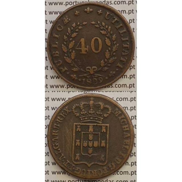 MOEDA PATACO (40 RÉIS) BRONZE 1829 (MBC) C/LETRAS MAIS PEQUENAS - D.MIGUEL I