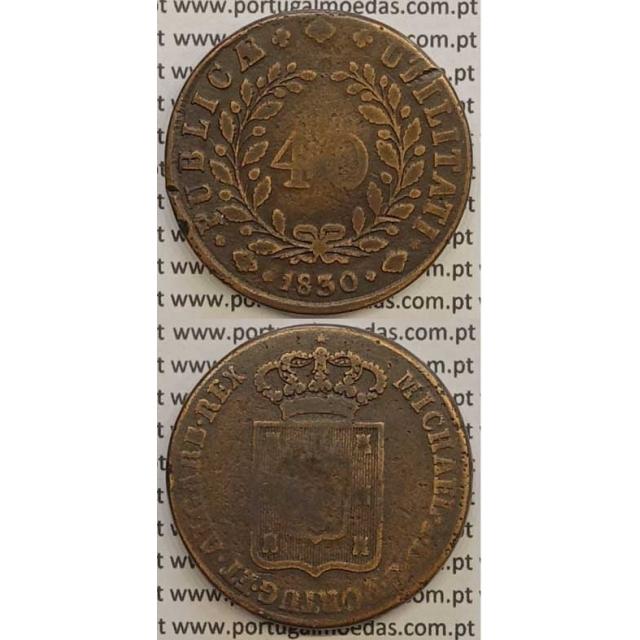 MOEDA PATACO (40 RÉIS) BRONZE 1830 (BC+) - D.MIGUEL I
