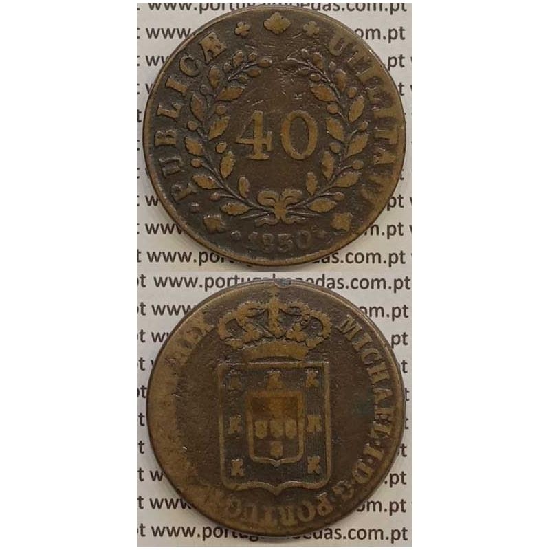 MOEDA PATACO (40 RÉIS) BRONZE 1830 (MBC-) - D.MIGUEL I