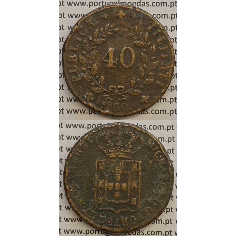 MOEDA PATACO (40 RÉIS) BRONZE 1830 (MBC) - D.MIGUEL I