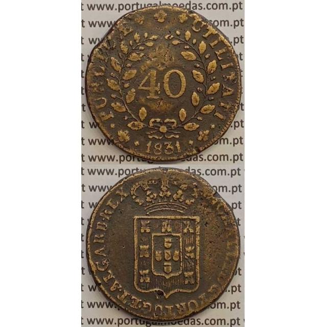 MOEDA PATACO (40 RÉIS) BRONZE 1831 (MBC) - LETRA ORNAMENTADA - D.MIGUEL I