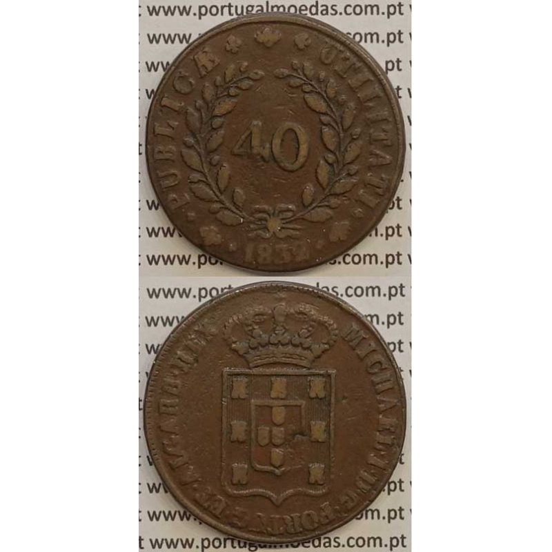 MOEDA PATACO (40 RÉIS) BRONZE 1832 (MBC) - D.MIGUEL I
