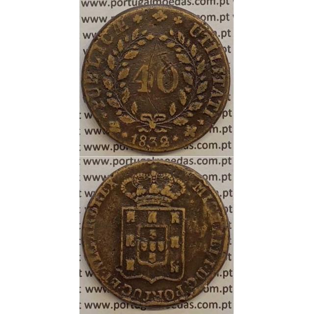 MOEDA PATACO (40 RÉIS) BRONZE 1832 (MBC-) - D.MIGUEL I