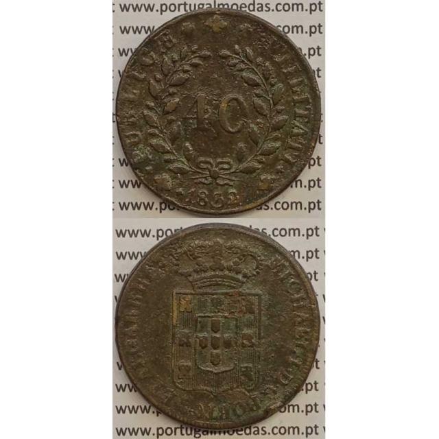 MOEDA PATACO (40 RÉIS) BRONZE 1832 (MBC) - DISCO FINO - D.MIGUEL I