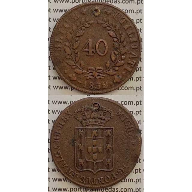 MOEDA PATACO (40 RÉIS) BRONZE 1832 (MBC-) - CASTELOS 2 x 2,5 - D.MIGUEL I