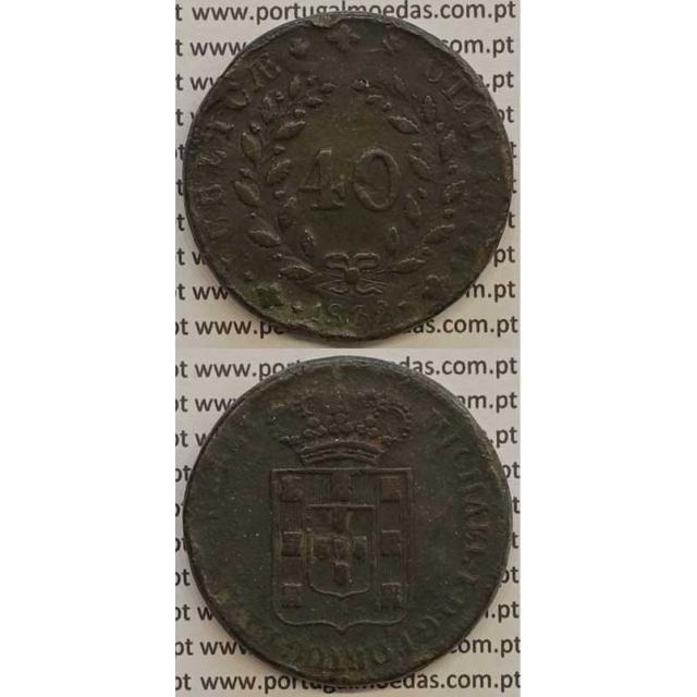 MOEDA PATACO (40 RÉIS) BRONZE 1832 (MBC) - LETRA ORNAMENTADA - D.MIGUEL I