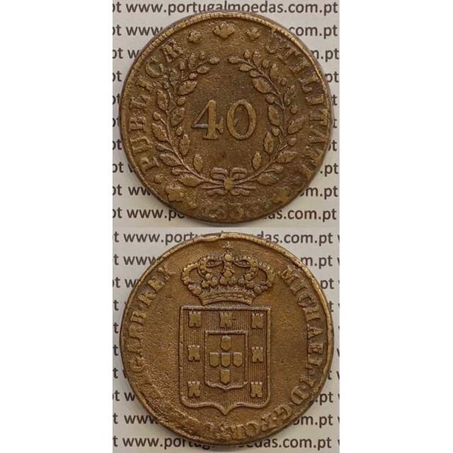 MOEDA PATACO (40 RÉIS) BRONZE 1833 (MBC) - CASTELOS 2 x 2,5 - D.MIGUEL I