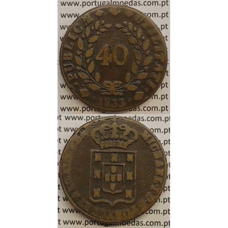 MOEDA PATACO (40 RÉIS) BRONZE 1833 (MBC-) - CASTELOS 2 x 2,5 - D.MIGUEL I