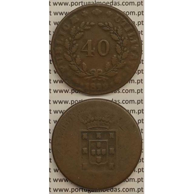 MOEDA PATACO (40 RÉIS) BRONZE 1829 (BC-) - D.MIGUEL I