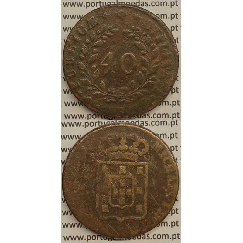 MOEDA PATACO (40 RÉIS) BRONZE 1830 (BC-) - D.MIGUEL I