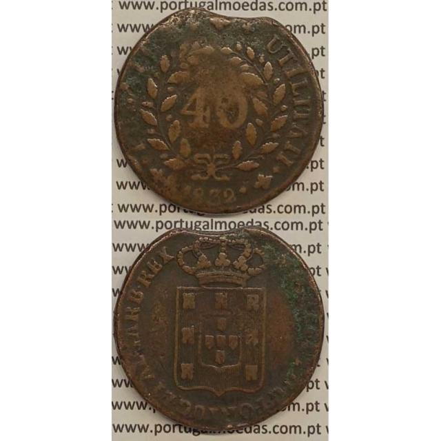 MOEDA PATACO (40 RÉIS) BRONZE 1832 (BC+) - DISCO FINO - D.MIGUEL I