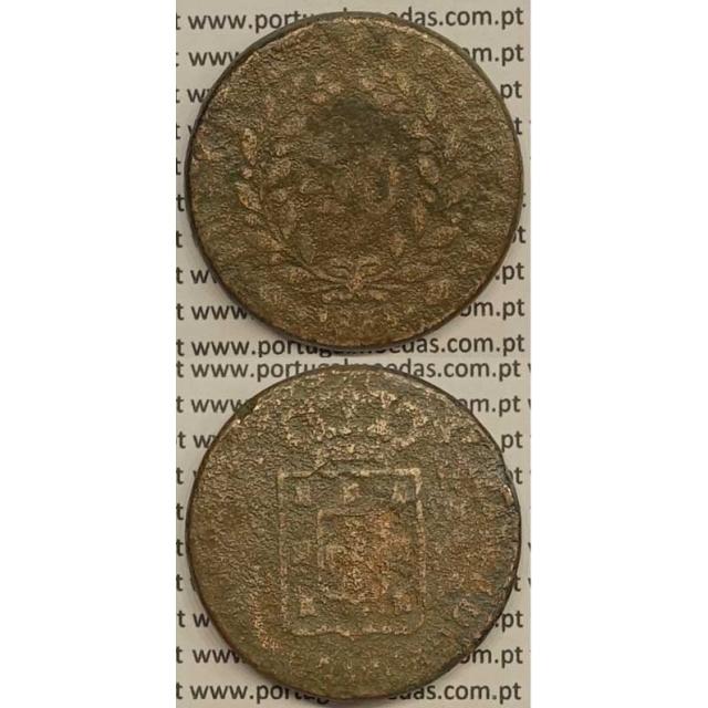 MOEDA PATACO (40 RÉIS) BRONZE 1833 (REG) - CASTELOS 2 x 2,5 - D.MIGUEL I