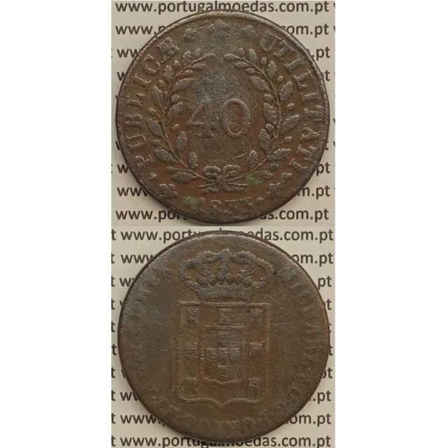 MOEDA PATACO (40 RÉIS) BRONZE 1833 (BC) - D.MIGUEL I