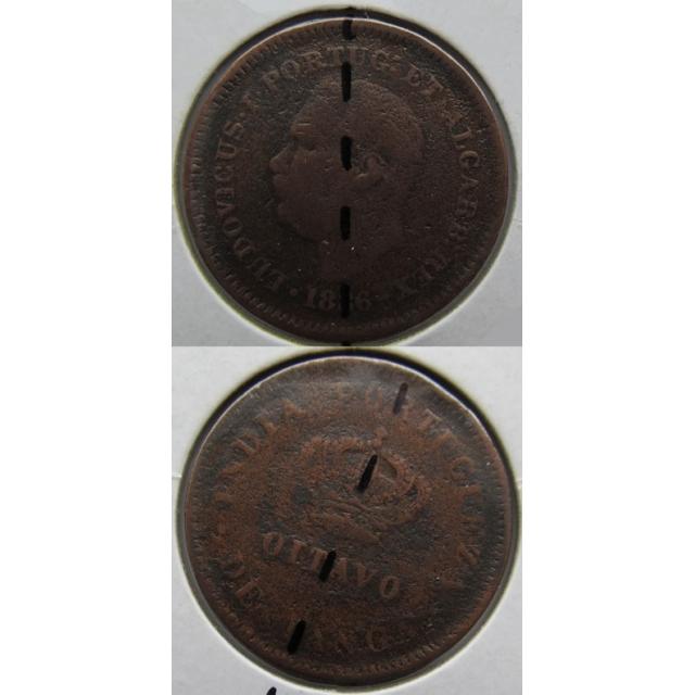 OITAVO DE TANGA COBRE 1886 - ÍNDIA (BC) COM EIXO DESLOCADO