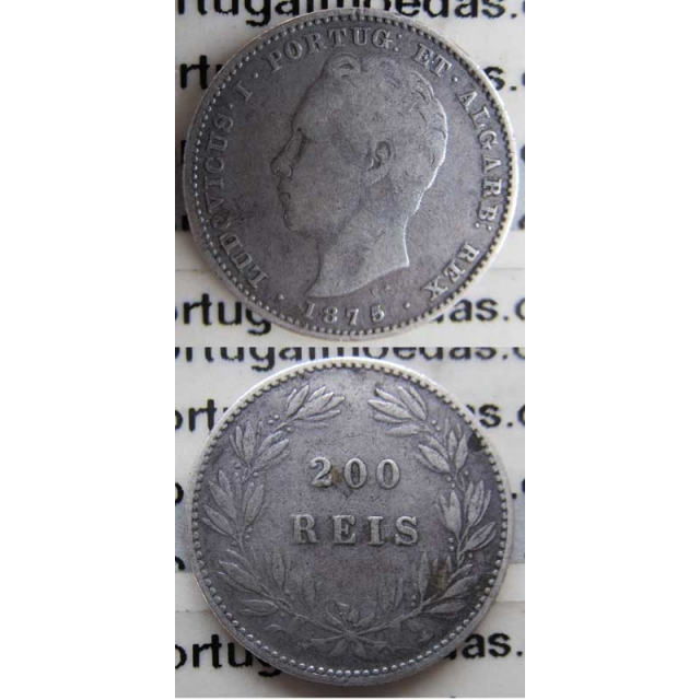 "200 REIS PRATA 1875 (BC+) "" DATA EMENDADA 5/4"""