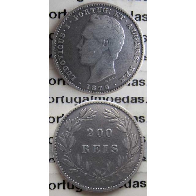 "200 REIS PRATA 1875 (BC+) ""DATA EMENDADA 5/4"""