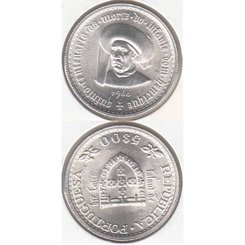 5$00 prata 1960 Infante D. Henrique, moeda Cinco Escudos Quinto Centenário da Morte do Infante Dom Henrique, World Coins KM 587