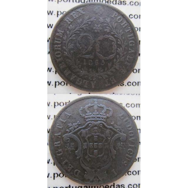 20 REIS COBRE 1865 - AÇORES / LEGENDA SEM PONTOS (MBC)