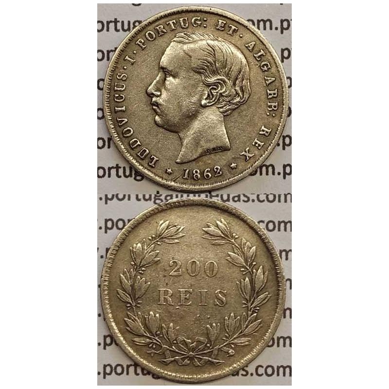 MOEDA DE 200 REIS PRATA 1862 (MBC) D. LUIS I