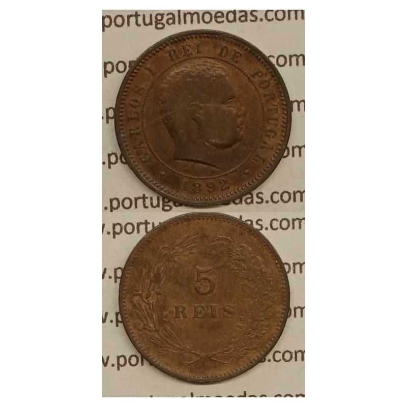 5 REIS BRONZE 1892 (BC+) - D. CARLOS I
