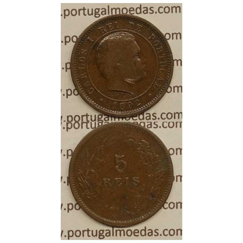 "5 REIS BRONZE 1892 ""VARIANTE DATA EMENDADA 2/1"" (BC+) - D. CARLOS I"