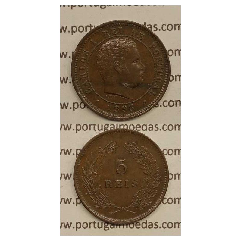 5 REIS BRONZE 1893 (MBC+/BELA-) - D. CARLOS I