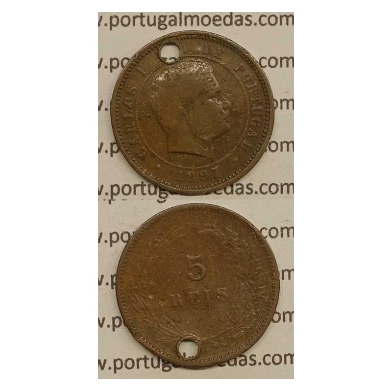5 REIS BRONZE 1897 (BC-/REG) - D. CARLOS I