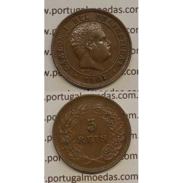 5 REIS BRONZE 1901 (MBC+/BELA-) - D. CARLOS I