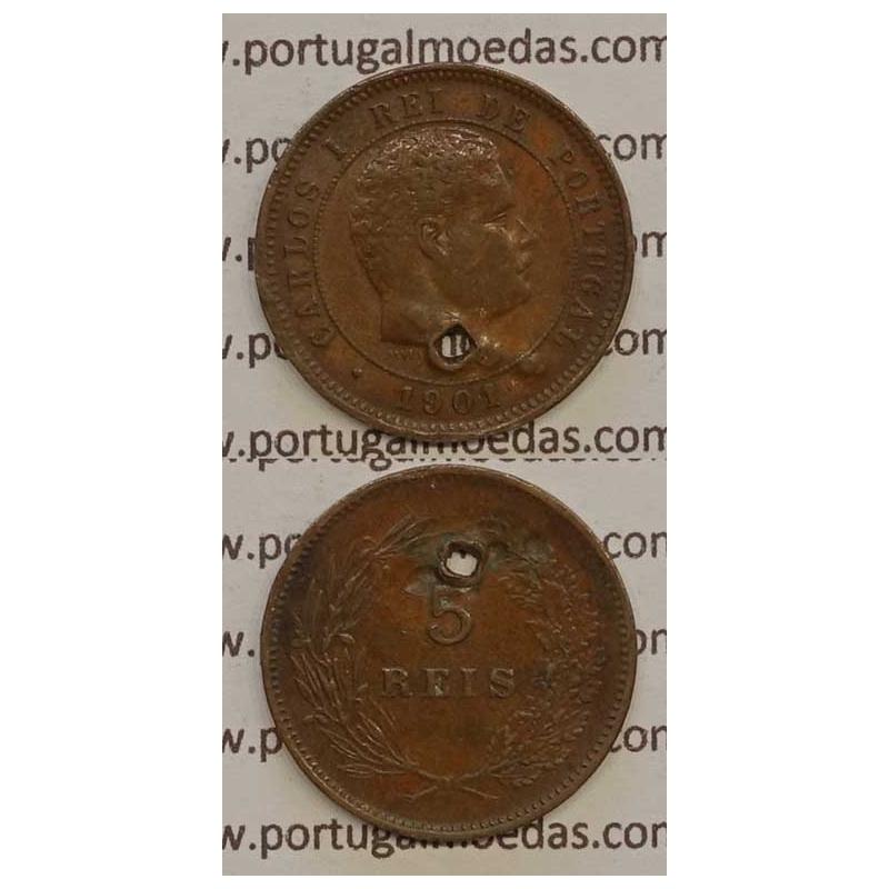 5 REIS BRONZE 1901 (BC-/REG) - D. CARLOS I