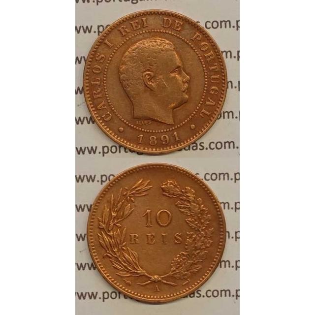 "10 REIS BRONZE 1891-A ""PARIS"" (MBC+) - D. CARLOS I"