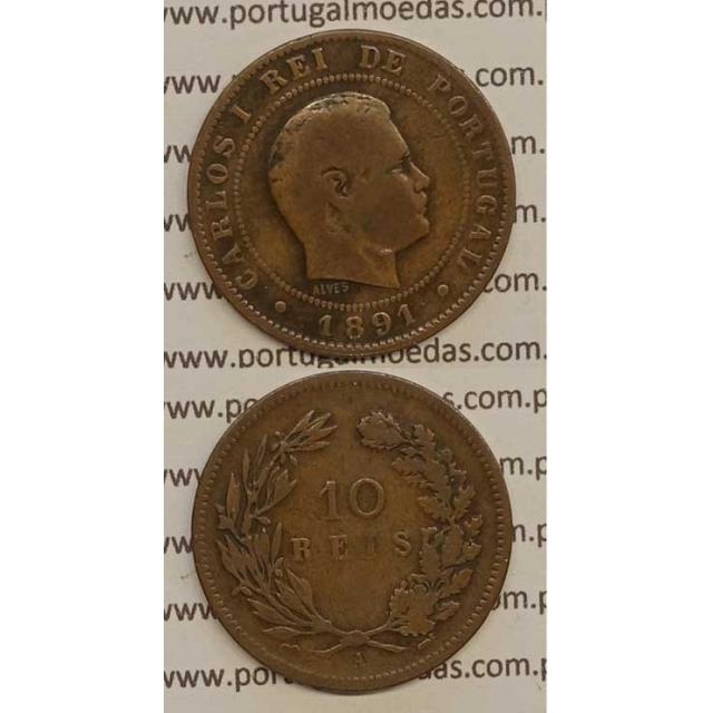 "10 REIS BRONZE 1891-A ""PARIS"" (BC) - D. CARLOS I"