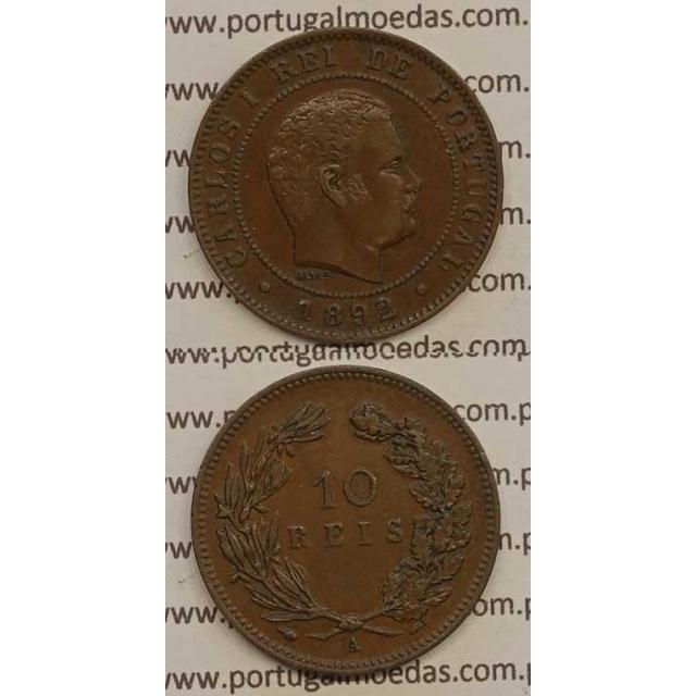 """10 REIS BRONZE 1892-A """"PARIS"""" (BELA-) - D. CARLOS I"""