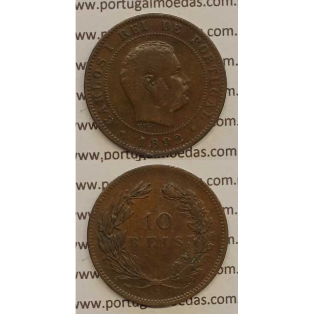 "10 REIS BRONZE 1892-A ""PARIS"" (BC+) - D. CARLOS I"