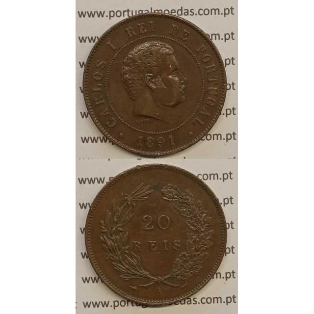 "20 REIS BRONZE 1891-A ""PARIS"" (MBC+/BELA-) - D. CARLOS I"