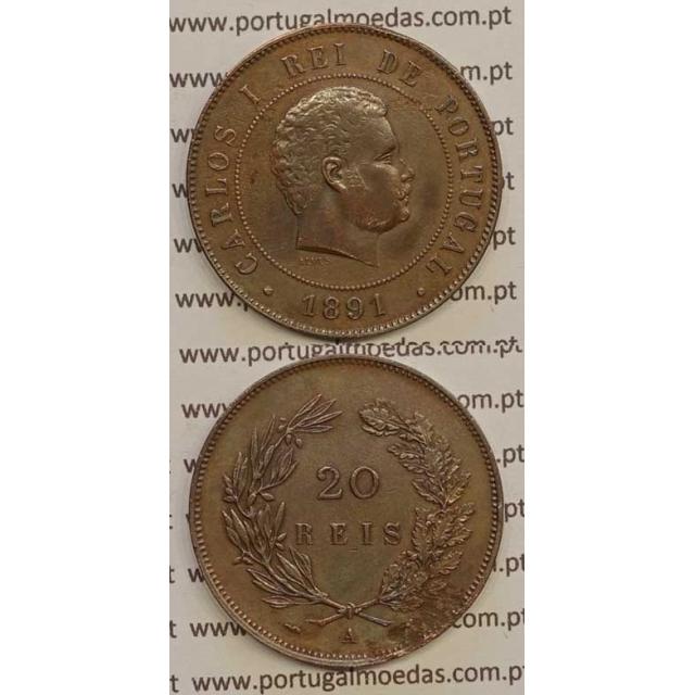 "20 REIS BRONZE 1891-A ""PARIS"" (MBC+) - D. CARLOS I"