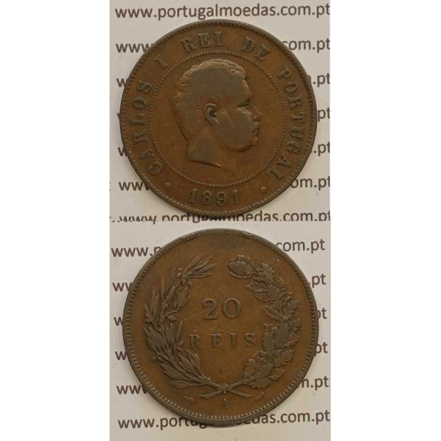 "20 REIS BRONZE 1891-A ""PARIS"" (BC) - D. CARLOS I"