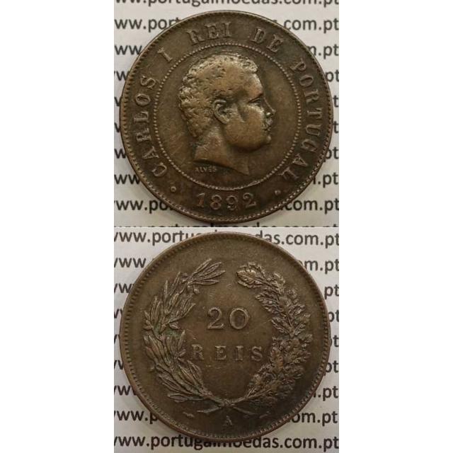 "20 REIS BRONZE 1892-A ""PARIS"" (MBC+) - D. CARLOS I"