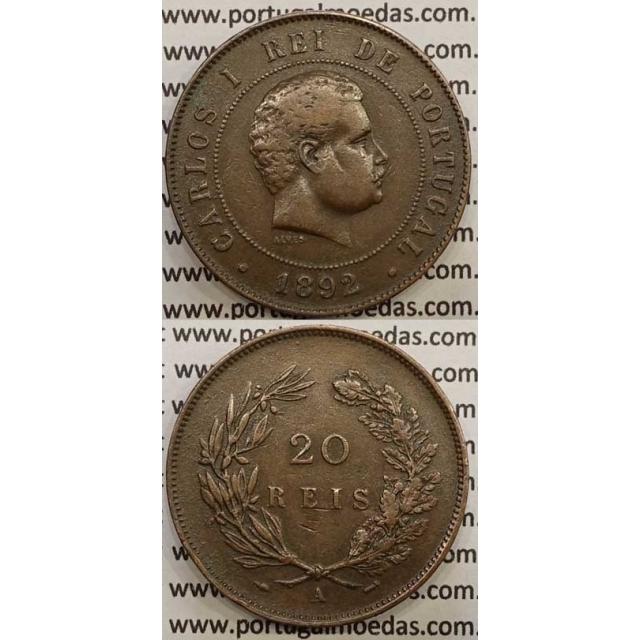 "20 REIS BRONZE 1892-A ""PARIS"" (MBC) - D. CARLOS I"