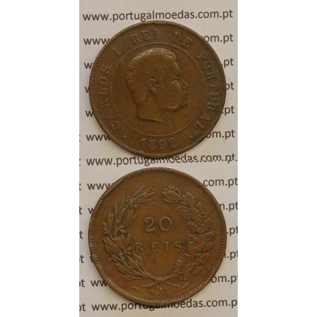 "20 REIS BRONZE 1892-A ""PARIS"" (BC) - D. CARLOS I"